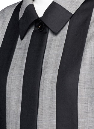 Detail View - Click To Enlarge - Alexander Wang  - Micro houndstooth stripe wool car coat