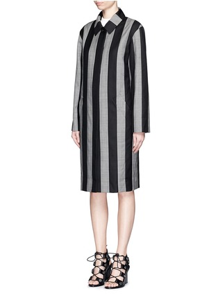 Front View - Click To Enlarge - Alexander Wang  - Micro houndstooth stripe wool car coat