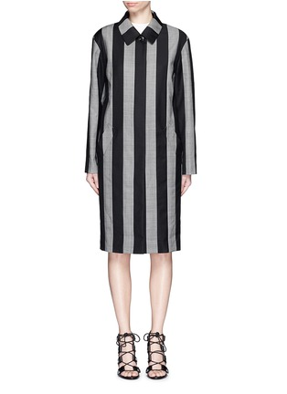 Main View - Click To Enlarge - ALEXANDER WANG - Micro houndstooth stripe wool car coat