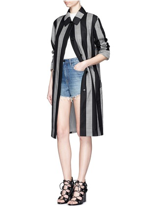 Figure View - Click To Enlarge - ALEXANDER WANG - Micro houndstooth stripe wool car coat