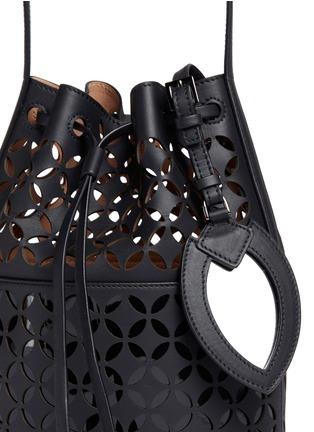 Detail View - Click To Enlarge - Alaïa - 'Petale' lasercut matte leather bucket bag