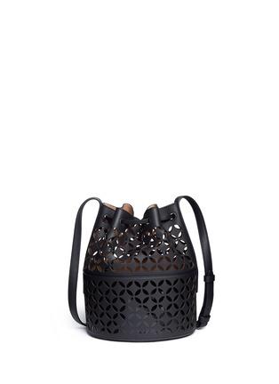 Front View - Click To Enlarge - Alaïa - 'Petale' lasercut matte leather bucket bag