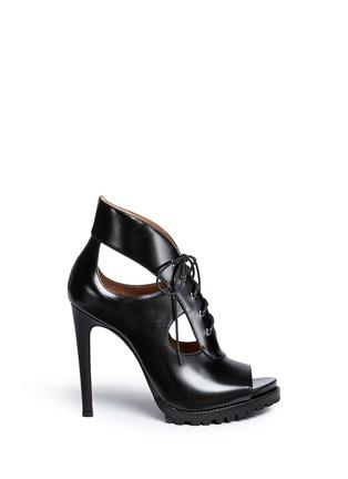 Main View - Click To Enlarge - Alaïa - Cutout lace-up leather platform sandal boots