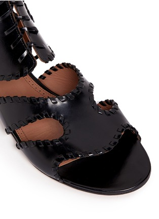 Detail View - Click To Enlarge - Alaïa - Whipstitch leather gladiator sandals