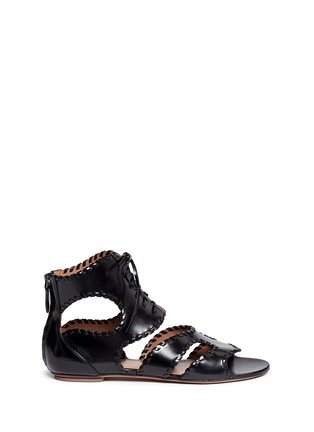 Main View - Click To Enlarge - Alaïa - Whipstitch leather gladiator sandals