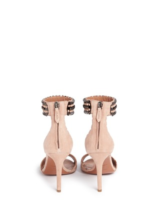Back View - Click To Enlarge - Alaïa - Metal chain cuff suede sandals