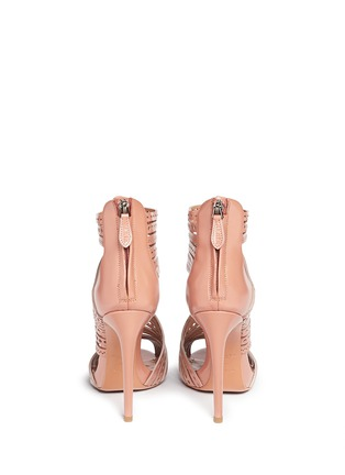 Back View - Click To Enlarge - Alaïa - Geometric lasercut caged leather sandals