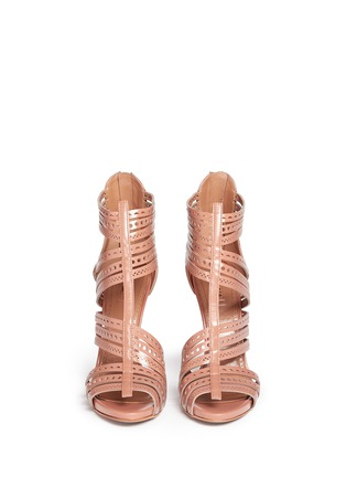Front View - Click To Enlarge - Alaïa - Geometric lasercut caged leather sandals