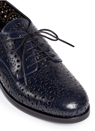 Detail View - Click To Enlarge - Alaïa - Geometric lasercut perforated leather Derbies