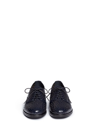 Front View - Click To Enlarge - Alaïa - Geometric lasercut perforated leather Derbies