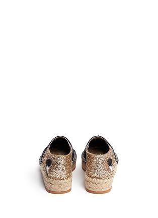 Back View - Click To Enlarge - Chiara Ferragni - 'Natalie' eye wink appliqué glitter espadrilles