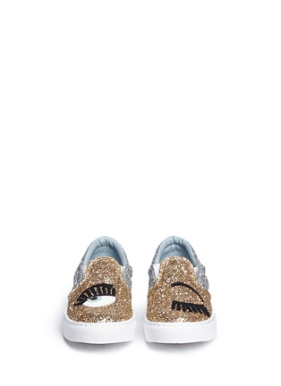 Front View - Click To Enlarge - Chiara Ferragni - 'Flirting' eye wink appliqué glitter slip-ons