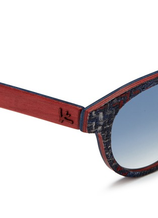 Detail View - Click To Enlarge - ISAIA - Fabric effect painted wood round sunglasses