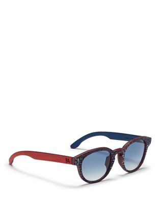 Figure View - Click To Enlarge - ISAIA - Fabric effect painted wood round sunglasses