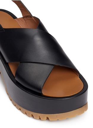 Detail View - Click To Enlarge - Marni - Cross vamp leather slingback wedge sandals