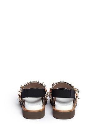 Back View - Click To Enlarge - Marni - Floral embellished glitter fussbett sandals