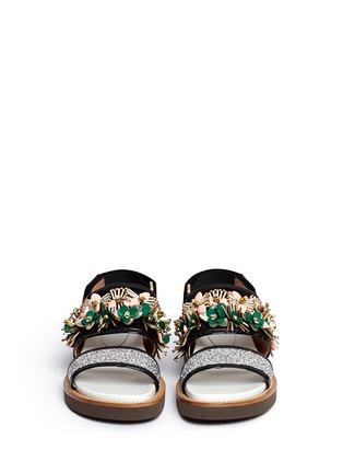 Front View - Click To Enlarge - Marni - Floral embellished glitter fussbett sandals