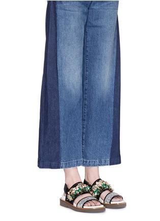 Figure View - Click To Enlarge - Marni - Floral embellished glitter fussbett sandals