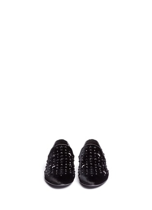 Front View - Click To Enlarge - Jimmy Choo - 'Sloane' star stud velvet slip-ons