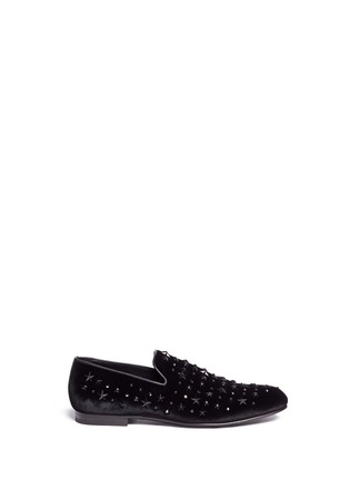 Main View - Click To Enlarge - Jimmy Choo - 'Sloane' star stud velvet slip-ons