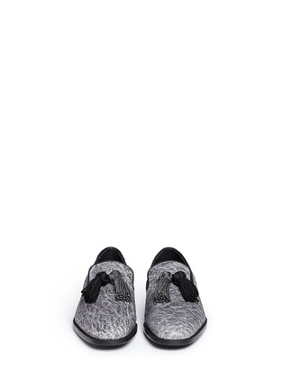 Front View - Click To Enlarge - Jimmy Choo - 'Foxley' crinkle suede tassel slip-ons