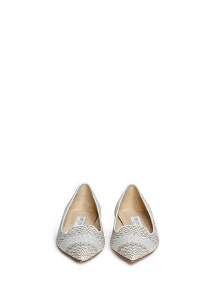 Front View - Click To Enlarge - Jimmy Choo - 'Attila' woven skimmer flats