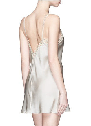 Back View - Click To Enlarge - La Perla - 'Petit Macramé' lace silk satin dress slip