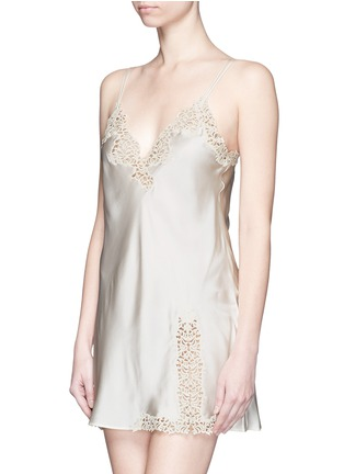 Figure View - Click To Enlarge - La Perla - 'Petit Macramé' lace silk satin dress slip