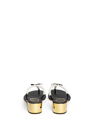 Back View - Click To Enlarge - René Caovilla - Faux pearl crystal T-strap sandals