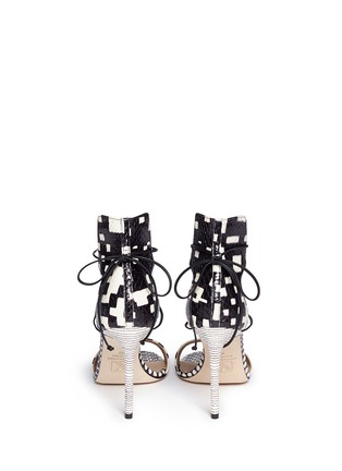 Back View - Click To Enlarge - REED KRAKOFF - Snakeskin leather ankle wrap sandals