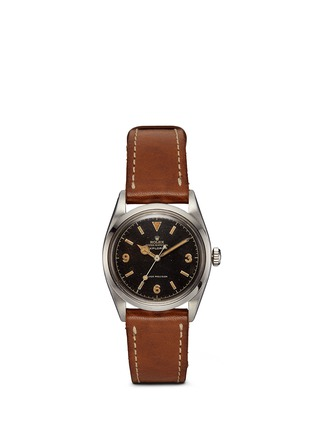 Main View - Click To Enlarge - Lane Crawford Vintage Collection - Vintage Rolex 5504 Explorer Oyster Perpetual leather strap watch