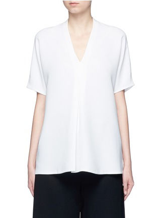 Main View - Click To Enlarge - Vince - Pintuck pleat V-neck blouse