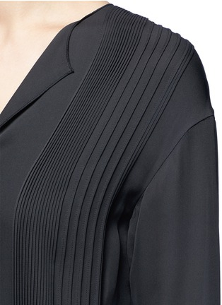 Detail View - Click To Enlarge - Vince - Pintuck pleat silk tunic dress