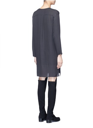 Back View - Click To Enlarge - Vince - Pintuck pleat silk tunic dress