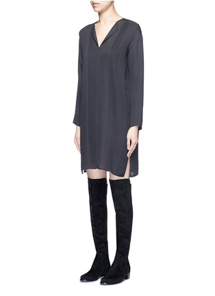Front View - Click To Enlarge - VINCE - Pintuck pleat silk tunic dress