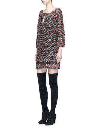Figure View - Click To Enlarge - alice + olivia - 'Gillian' floral lattice embroidery tunic dress
