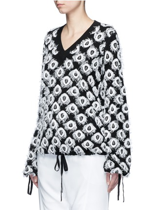 Front View - Click To Enlarge - Chloé - Frayed peacock jacquard knit sweater