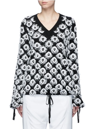 Main View - Click To Enlarge - Chloé - Frayed peacock jacquard knit sweater