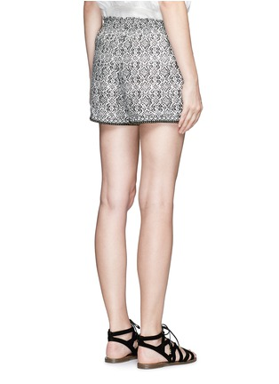 Back View - Click To Enlarge - Talitha - Beaded cuff tribal print cotton-silk shorts