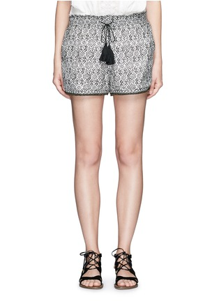 Main View - Click To Enlarge - Talitha - Beaded cuff tribal print cotton-silk shorts