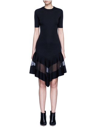 Main View - Click To Enlarge - Givenchy Beauty - Contrast mesh panel knit dress