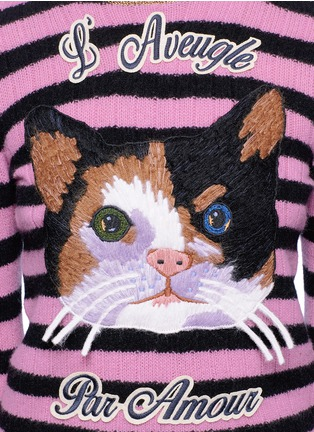 Detail View - Click To Enlarge - Gucci - Cat embroidery cashmere-Merino wool sweater