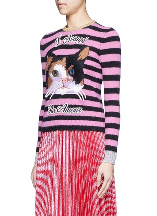Front View - Click To Enlarge - Gucci - Cat embroidery cashmere-Merino wool sweater