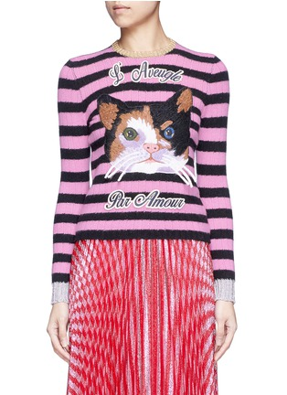 Main View - Click To Enlarge - Gucci - Cat embroidery cashmere-Merino wool sweater