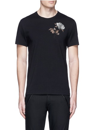 Main View - Click To Enlarge - Alexander McQueen - Floral embroidery jersey T-shirt