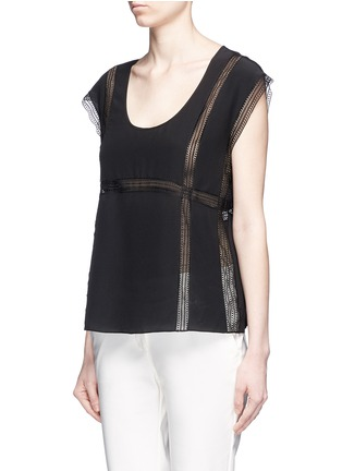 Front View - Click To Enlarge - Theory - 'Raballa' lace insert silk top