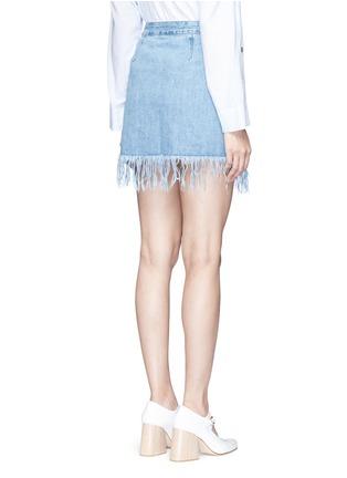 Back View - Click To Enlarge - 3X1 - 'WS' fringe hem denim skirt