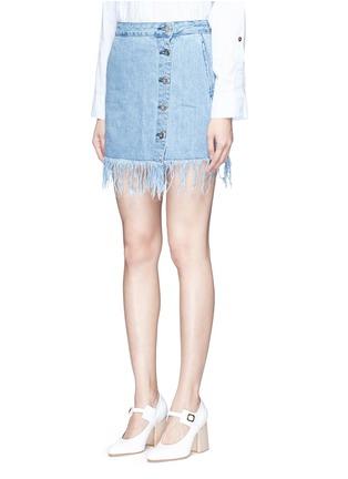 Front View - Click To Enlarge - 3X1 - 'WS' fringe hem denim skirt