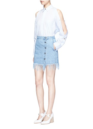 Figure View - Click To Enlarge - 3X1 - 'WS' fringe hem denim skirt