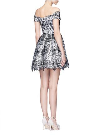 Back View - Click To Enlarge - alice + olivia - 'Izabelle' floral embroidery off-shoulder flare dress